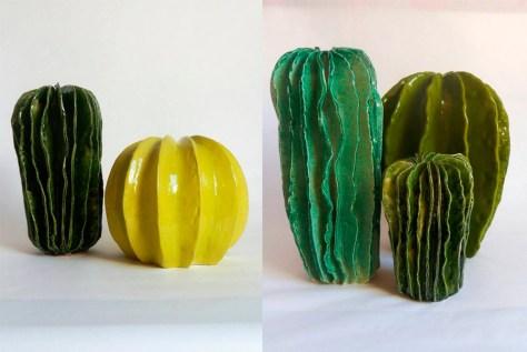 adornos monocromáticos con forma de cactus