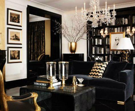 Salón decorado en negro y dorado