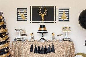 Fiesta decorada en negro y dorado
