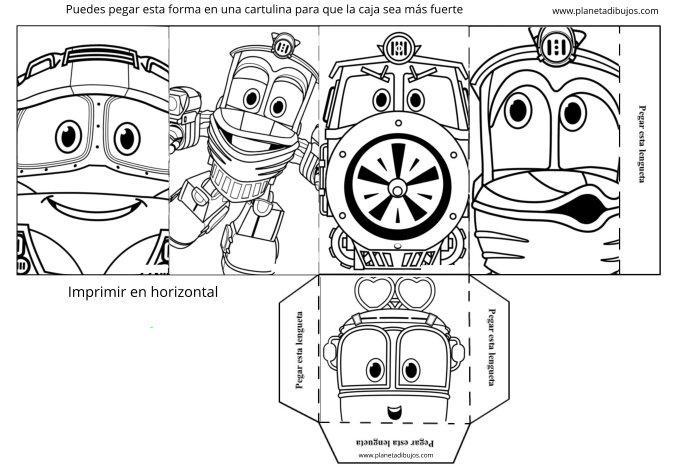 Robot Trains para imprimir y colorear