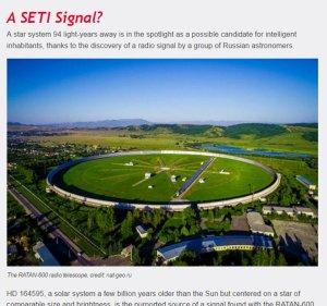 Captura de la Web de Seti donde se ha colgado el artículo del director Seth Shostak