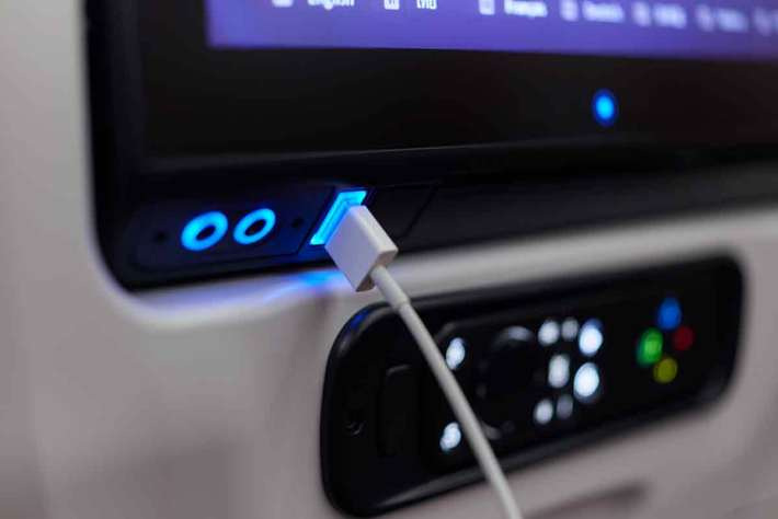 Thai Airways A350 USB inflight entertainment socket
