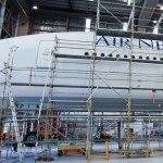 Air New Zealand 777 aircraft in hangar in preparation for Hobbit image transformation