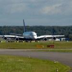 Lufthansa Airbus A380 arrives at Zurich Airport