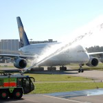Lufthansa Airbus A380 met by water salute