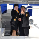 Lufthansa crew celebrate naming of A380