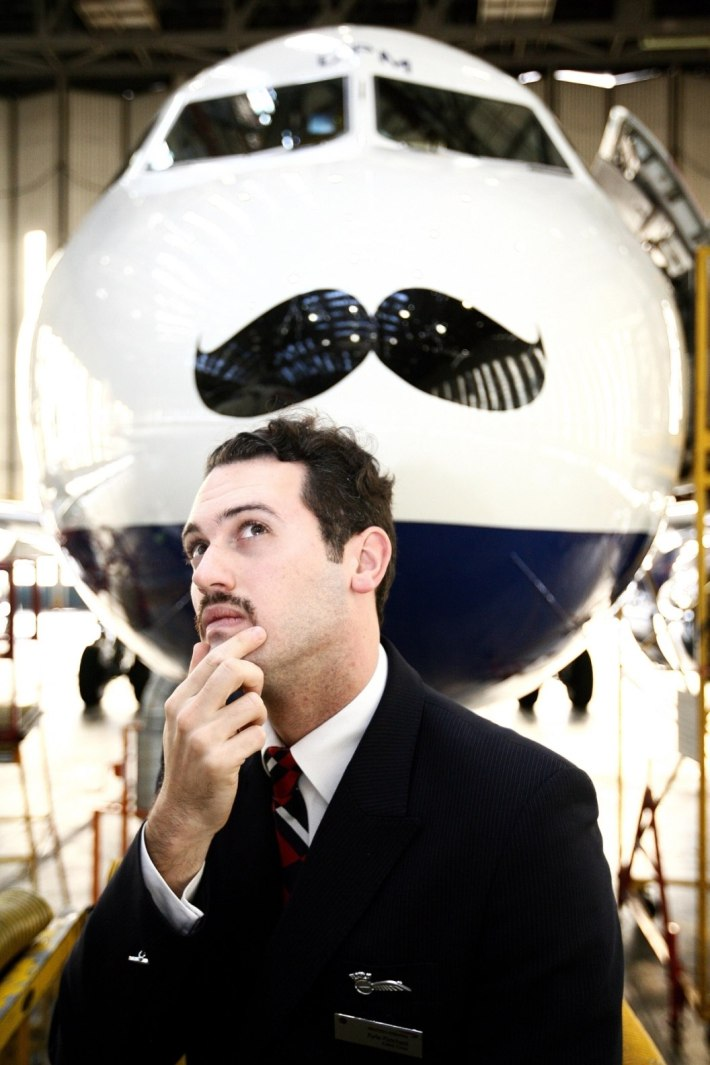 Movember takes off with British Airways Airbus A319 and BA cabin crew member Kyle Patchett