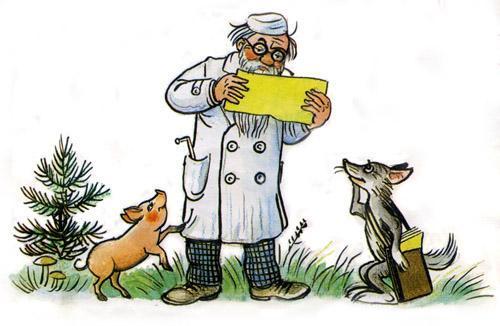 доктор Айболит читает письмо звери