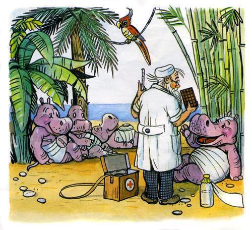 доктор Айболит лечит животных бегимотиков шоколадом