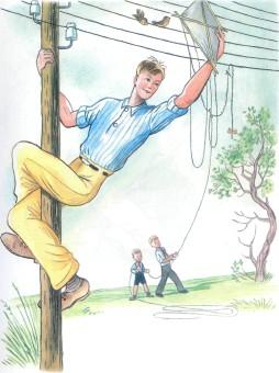 Дядя Стёпа на столбе снимает воздушного змея