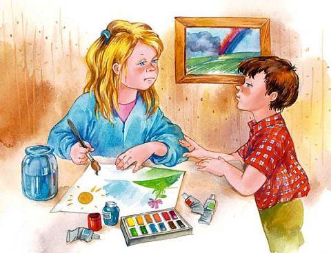дети мальчик и девочка рисуют