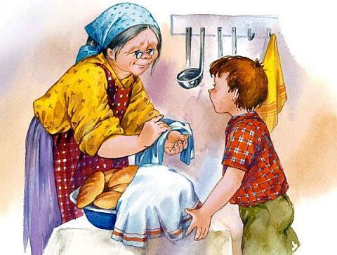 мальчик и бабушка делает пирожки