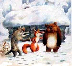 лиса волк и медведь пришли к избушке
