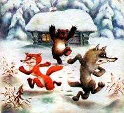 лиса волк и медведь бросились бежать