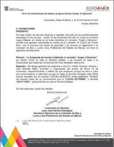 Comunicado de la Comisión de Box y Lucha Libre del Estado de México