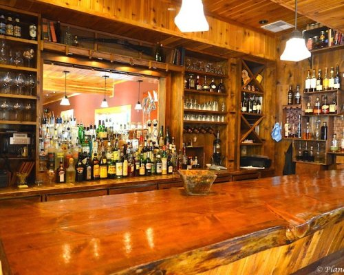 The well stocked bar at Rainbow Ranch