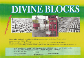 Construction Blocks are available For Your Building Projects. Vibrated and Stone dust Quality at Airport Road, Abuja.