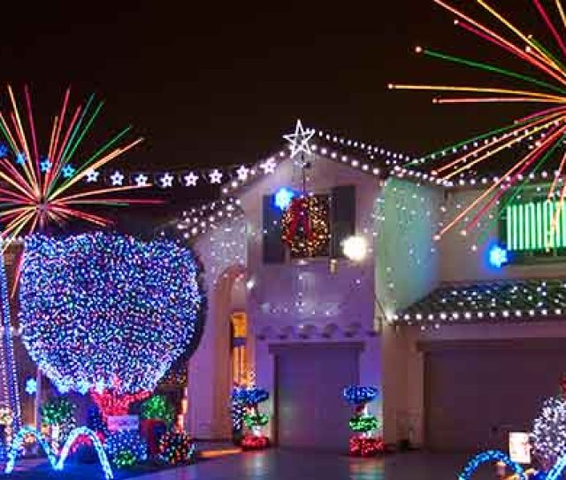 Christmas House With Firework Lights