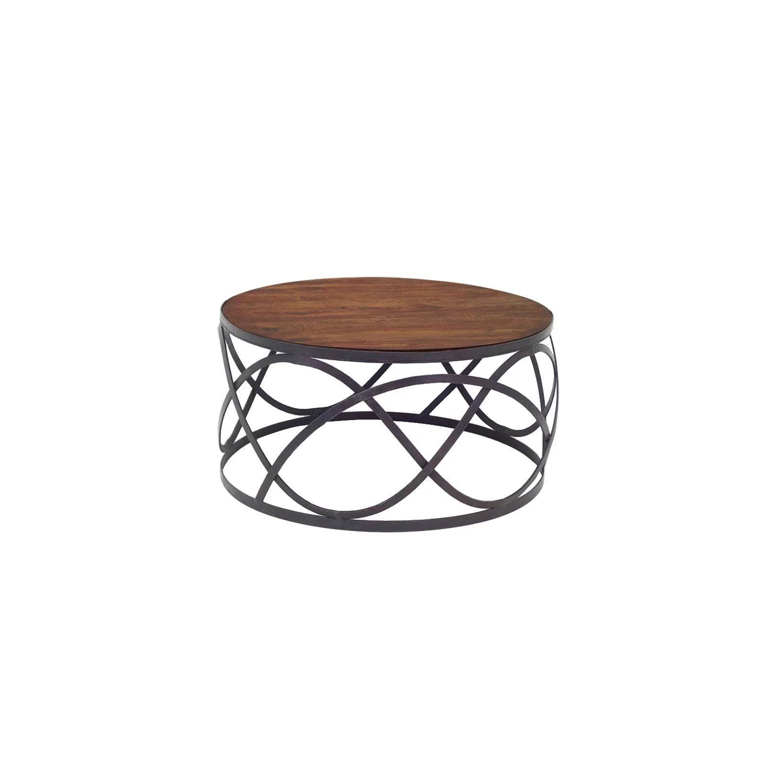 table basse ronde metal et palissandre loft
