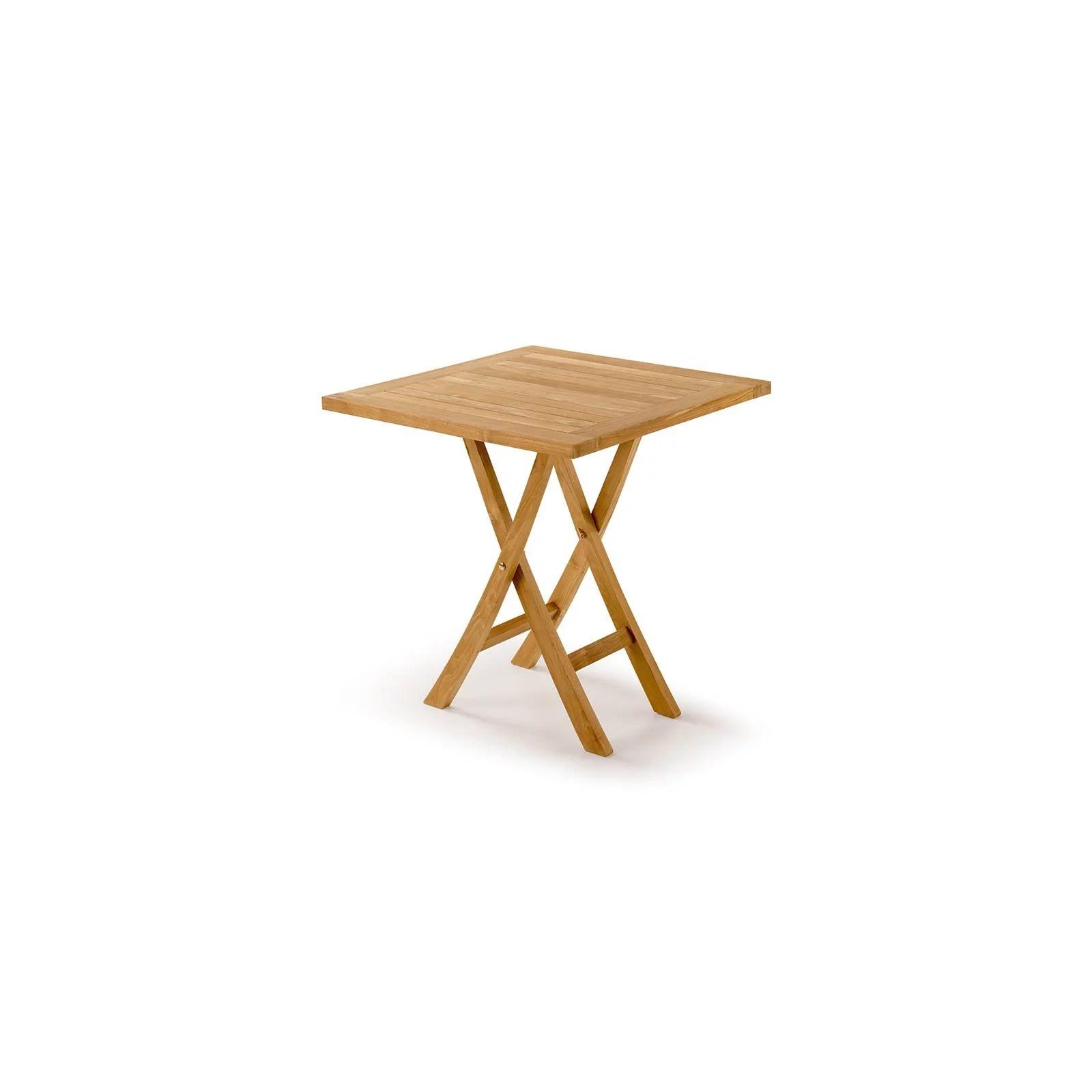 table de jardin carree pliante teck greenwood
