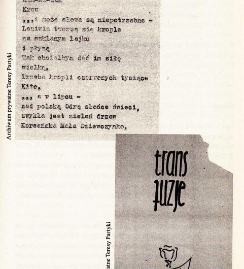 En haut : poème L'ouverture (Uwertura), Tadeusz Partyka, texte dactylographié. En bas : graphique avec le mot « transfusions » imprimé dessus, Tadeusz Partyka. (les orphelins nord coréen)
