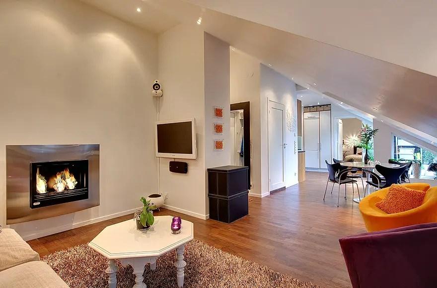 un petit loft chaleureux stockholm planete deco a homes world. Black Bedroom Furniture Sets. Home Design Ideas