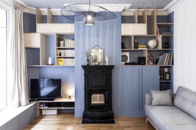 Rénovation d'un appartement parisien en bleu