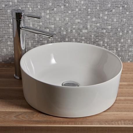 Vente Vasque Ronde En Ceramique Blanche A Poser Sur Un Plan Ou Sur Un Meuble