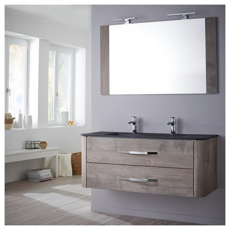 Achat meuble de salle de bain tout inclus en 120 cm Curve couleur root wood Haut de gamme