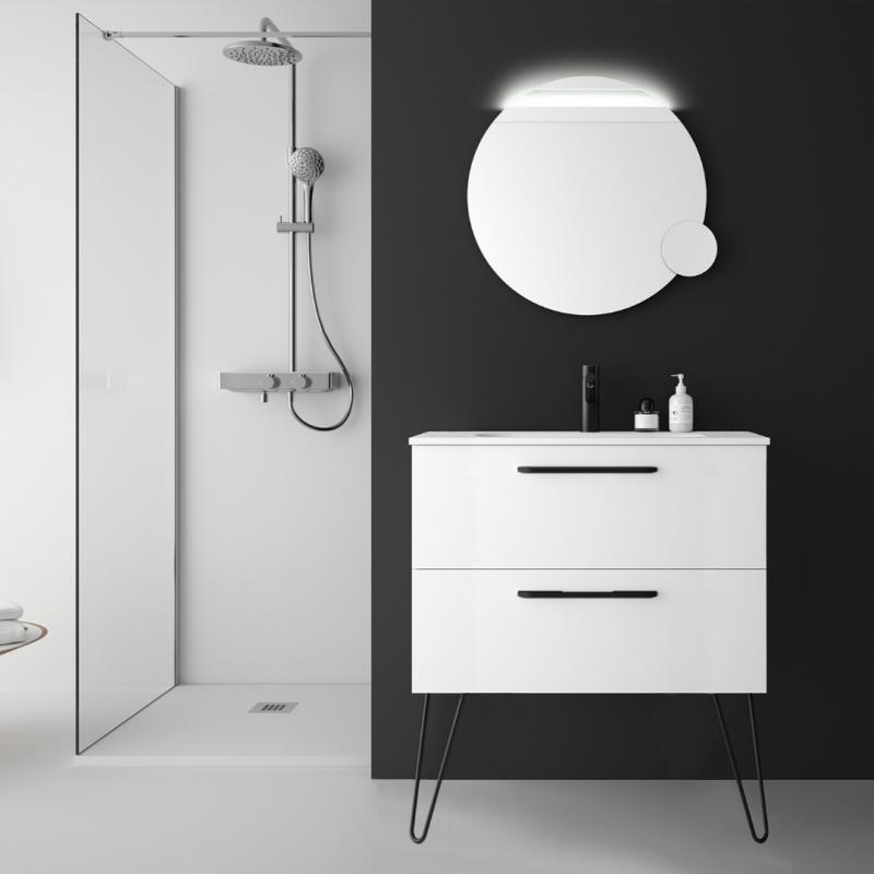 Meuble Salle De Bain 80 Cm Couleur Blanc Avec Poignets Et Pieds Noirs