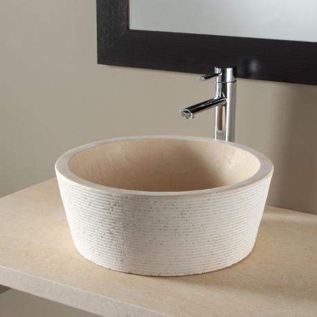 vente vasque a poser ronde vasques de couleur beige planete bain