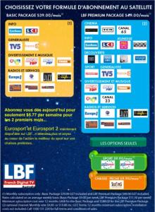 24 digital channels in french language. Visite www.lbf.com.au for more details. These channels are available in eastern Australia.