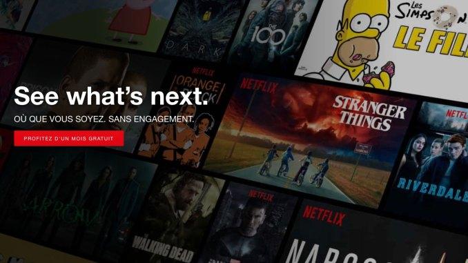 Page d'accueil Netflix