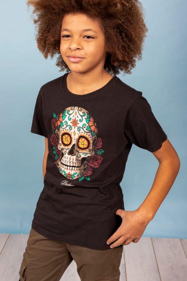 T-shirt motif tête de mort mexicaine noire et blanc
