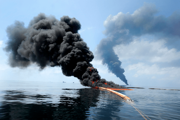 A controlled burn on an oil spill site following the Deepwater Horizon explosion.
