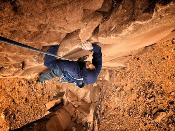 Alex Honnold scales a wall during the filming of Sufferfest 2. In the film, Honnold and Cedar Wright attempt to scale 45 of the American Southwest's most iconic towers (Source: the Honnold Foundation)