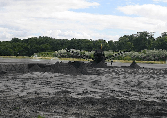Coal ash being stored in the West Pans. (Photo: Richard Webb)