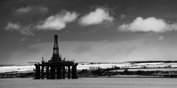 Oil rig, Cromarty Firth, Scotland. (Image Credit: DJ MacPherson)