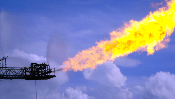 New gas well opened up to flare boom on PVDII via Expro skid.  (Image Credit: Ken Doerr / Flickr)