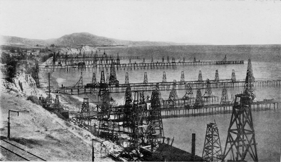 The Summerland Oil Field, near Santa Barbara, California, before 1906. (Image Credit: G.H. Eldridge via NOAA)