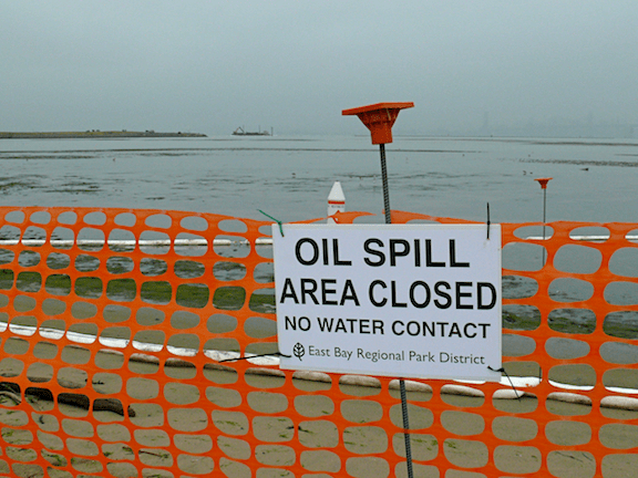 A sign hung around San Francisco beaches immediately after the Cosco Busan spill in San Francisco Bay. (Image Credit: Ingrid Taylar / Flickr)