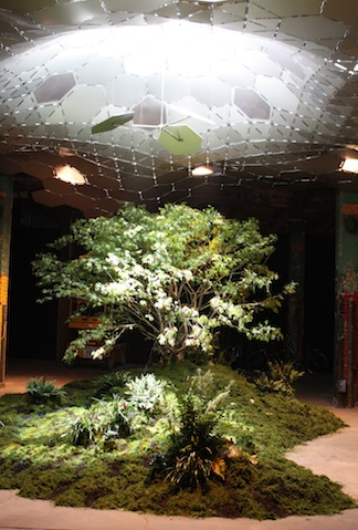 The proof of concept model for the Lowline was built in an abandoned warehouse directly above the Williamsburg Bridge Trolley Terminal. The exhibit received over 11,000 visitors in two weeks. (Photo Credit: Lizzy Zevallos / Lowline)
