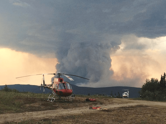 Helicopters over the Aggie Creek Fire in Fairbanks, Alaska, July 11, 2015. (Photo: National Wildfire Coordinating Group)