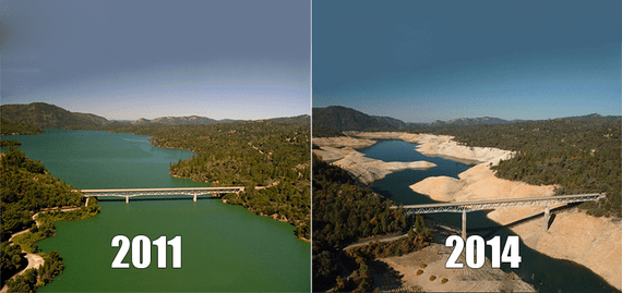 A striking visualization of how the drought has impacted California. These images show the water level in the Oroville Dam reservoir, north of Sacramento, from 2011 and 2014. (Photo Credit: California Department of Water Resources)