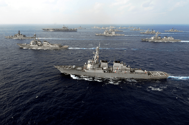 US and Japanese ships travel in formation during naval exercises in 2007. (Photo Credit: Mass Communication Specialist Seaman Stephen W. Rowe)