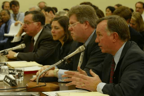 Arthur Andersen witnesses testify at the Subcommittee on Oversight and Investigations in January 2002. (Source: US Government)