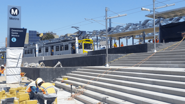 The first train pulls into the Expo Line Downtown Santa Monica station during clearance testing. (Photo Credit: Jason Islas / Santa Monica Next)