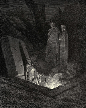 A Gustave Doré woodcut illustration from The Divine Comedy: The Inferno: Canto 10.
