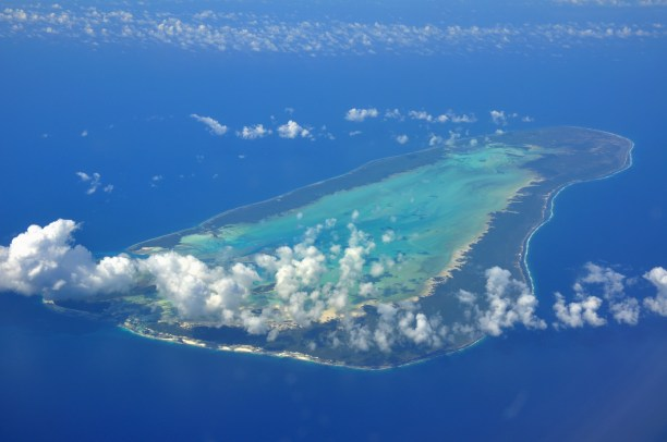 An aerial view of Aldabra, one the 150 islands in the Seychelles. (Photo Credit: Simisa / WikiMedia Commons)
