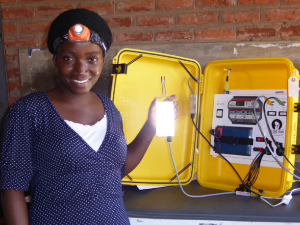 Malawi with a Solar Suitcase. (Photo Credit: Dr. Laura Stachel)